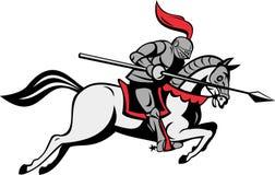 Cavaleiro com o cavalo de equitação da lança ilustração do vetor