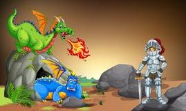Cavaleiro com os dois dragões na caverna ilustração royalty free