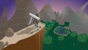 Cavaleiro com uma espada, montanhas, lago, árvores ilustração do vetor