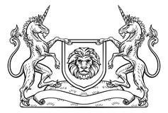 Cavaleiro Crest Unicorn Shield Heraldic Emblem Fotografia de Stock