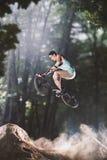 Cavaleiro da bicicleta de Bmx na floresta Imagem de Stock Royalty Free