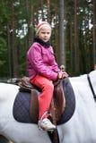Cavaleiro da menina em um cavalo branco Imagem de Stock