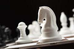 Cavaleiro da xadrez no tabuleiro de xadrez Foto de Stock