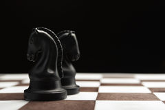 Cavaleiro da xadrez no tabuleiro de xadrez Foto de Stock Royalty Free