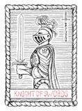 Cavaleiro das espadas O cartão de tarô Fotos de Stock