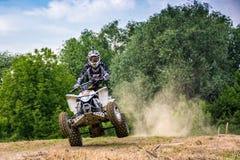 Cavaleiro de ATV na ação de salto da bicicleta da sujeira Imagem de Stock Royalty Free