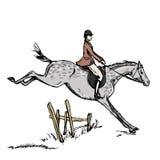 Cavaleiro do cavalo do cavaleiro Homem de salto do horseback do estilo ingl ilustração do vetor