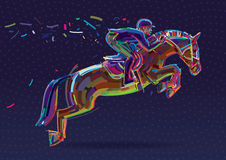 Cavaleiro do esporte equestre na mostra de salto Imagens de Stock