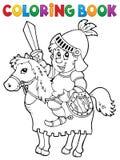 Cavaleiro do livro para colorir no tema 2 do cavalo ilustração stock