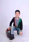 Cavaleiro do menino de Moto Foto de Stock