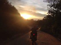 Cavaleiro do por do sol Fotos de Stock Royalty Free