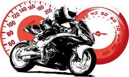 Cavaleiro do velomotor, silhueta abstrata do vetor Competência da motocicleta da estrada ilustração stock