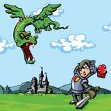 Cavaleiro dos desenhos animados atacado por um dragão ilustração royalty free
