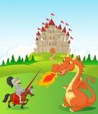 Cavaleiro dos desenhos animados com dragão feroz Imagem de Stock