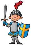 Cavaleiro dos desenhos animados na armadura com uma espada ilustração stock