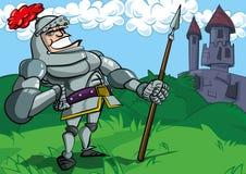 Cavaleiro dos desenhos animados na armadura com uma lança ilustração stock