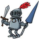 Cavaleiro dos desenhos animados na armadura com uma lança ilustração do vetor