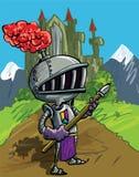 Cavaleiro dos desenhos animados na armadura com uma lança ilustração royalty free