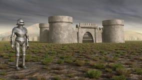 Cavaleiro e castelo medieval Imagens de Stock