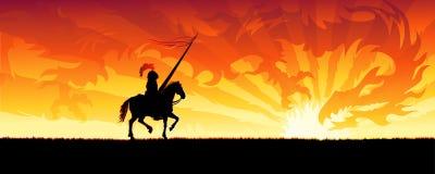 Cavaleiro e dragão ilustração royalty free