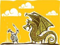 Cavaleiro e dragão mornos Imagens de Stock