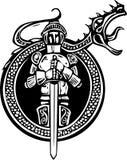 Cavaleiro e dragão rujir Fotografia de Stock Royalty Free