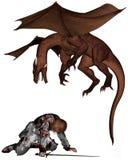 Cavaleiro e dragão feridos Fotos de Stock
