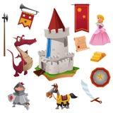 Cavaleiro e Dragon Icons Fotos de Stock Royalty Free