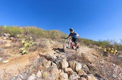 Cavaleiro em declive da bicicleta Fotografia de Stock
