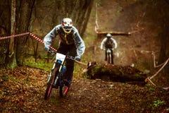 Cavaleiro em uma bicicleta de montanha Fotos de Stock