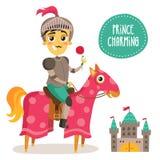 Cavaleiro engraçado em um cavalo - príncipe Charming - com uma flor e uma manutenção programada ilustração do vetor