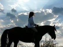 Cavaleiro fêmea e cavalo tired na noite imagens de stock