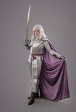 Cavaleiro fêmea na armadura de brilho fotos de stock