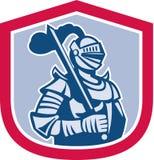 Cavaleiro Full Armor With Sword Shield Retro ilustração royalty free