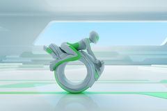 Cavaleiro futuro do motobike no interior da olá!-tecnologia. Imagens de Stock
