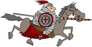 Cavaleiro Jousting em um cavalo ilustração royalty free