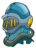 Cavaleiro medieval azul Helmet do metal da fantasia Imagem de Stock