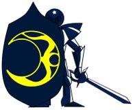 Cavaleiro medieval com a lua do zodíaco isolada ilustração royalty free