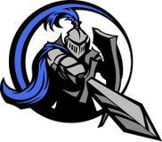 Cavaleiro medieval com a mascote da espada e do protetor Foto de Stock Royalty Free