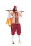 Cavaleiro medieval do homem com cabelo e a espada longos Fotografia de Stock Royalty Free
