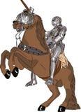 Cavaleiro medieval do vetor na armadura a cavalo Fotografia de Stock