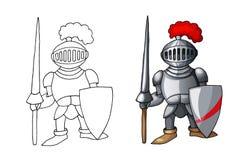 Cavaleiro medieval dos desenhos animados com o protetor e a lança, isolados no fundo branco foto de stock