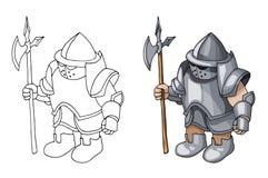 Cavaleiro medieval dos desenhos animados com o protetor e a lança, isolados no fundo branco imagens de stock royalty free