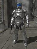 Cavaleiro na armadura de brilho do espaço Fotos de Stock Royalty Free