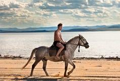 Cavaleiro na praia imagem de stock