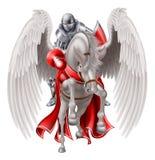 Cavaleiro no cavalo de Pegasus Foto de Stock Royalty Free