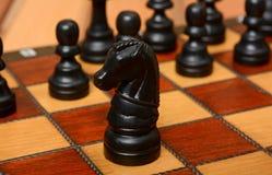 Cavaleiro preto da xadrez da cor no fron com os penhores no fundo Imagens de Stock Royalty Free