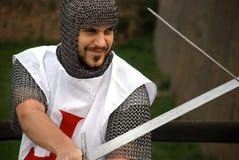 Cavaleiro que pratica para a batalha fotografia de stock