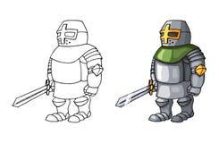 Cavaleiro seguro medieval dos desenhos animados com a espada, isolada no fundo branco foto de stock royalty free