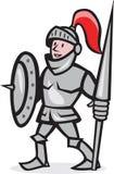 Cavaleiro Shield Holding Lance Cartoon Fotografia de Stock